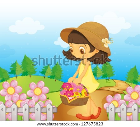 Illustration of a girl collecting flowers