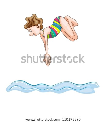 illustration of a girl diving into water on a white background - stock vector