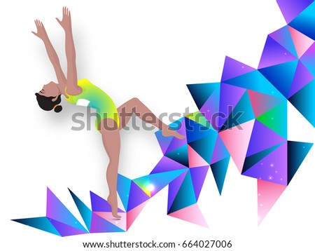 Illustration of a girl doing gymnastics on abstract polygonal background.