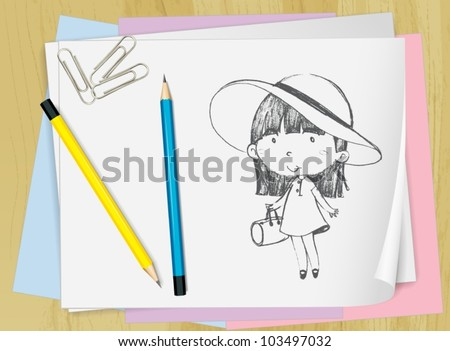 Illustration of a girl drawn on paper