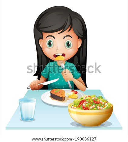 illustration of a girl eating