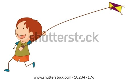 illustration of a girl flying a
