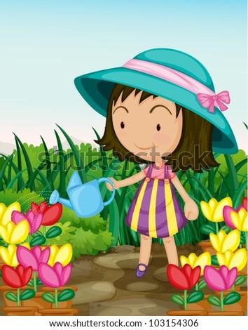 Illustration of a girl gardening
