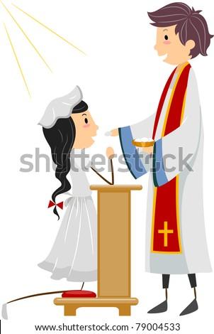 Illustration of a Girl Going Through Communion