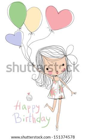 illustration of a girl holding