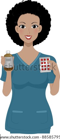 Illustration of a Girl Holding Some Medicine