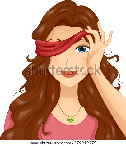 Stock Photo Illustration of a Girl in a Blind Date Taking Off Her Blindfold