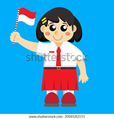 illustration of a girl in an elementary school uniform holding an Indonesian flag, suitable for Indonesia's 76th independence day, HUT RI, 17 august 1945, indonesian independence day, (dirgahayu indo) Stock fotó ©
