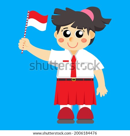 illustration of a girl in an elementary school uniform holding an Indonesian flag, suitable for Indonesia's 76th independence day, HUT RI, 17 august 1945, indonesia independence day, HUT RI Stock fotó ©