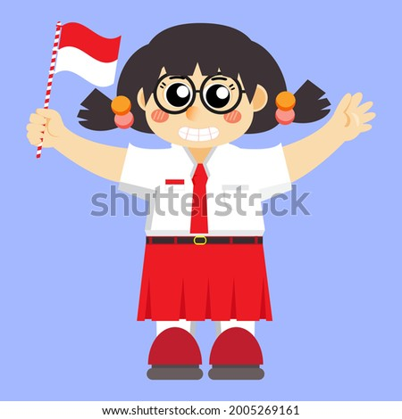 illustration of a girl in an elementary school uniform holding an Indonesian flag, vector illustration of a girl in a simple and cute style, suitable for Indonesia's 76th independence day, HUT RI Stock fotó ©