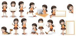 Illustration of a girl in different poses holding a sign