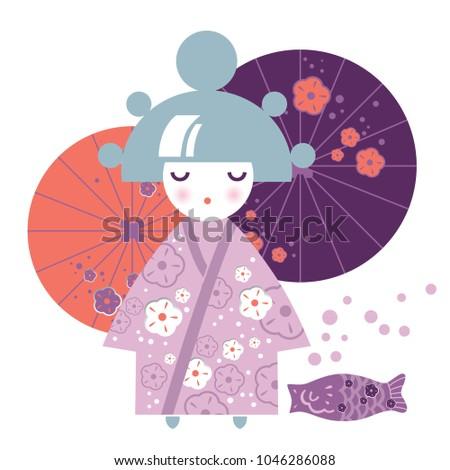 illustration of a girl japanese