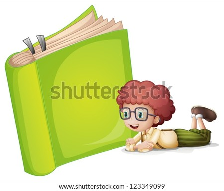 Illustration of a girl lying near a green book