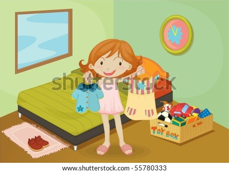 Illustration of A Girl on colorful background
