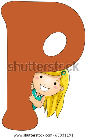 Illustration of a Girl Peeking From Behind a Letter P