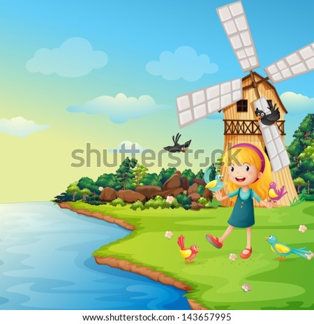 illustration of a girl playing