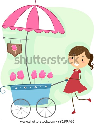 Illustration of a Girl Pushing a Cotton Candy Cart