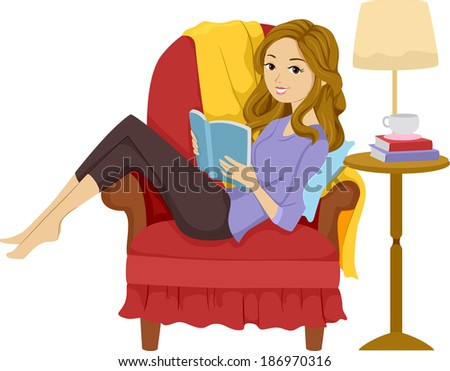 illustration of a girl reading