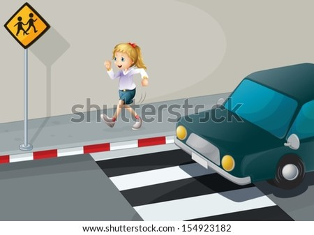 illustration of a girl running