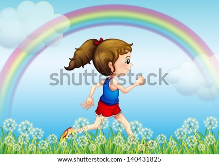 Illustration of a girl running with a rainbow in the sky