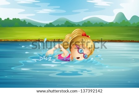 illustration of a girl swimming