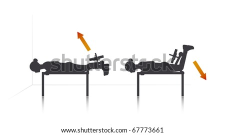 Illustration of a girl who exercise legs back extension. - stock vector