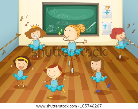 illustration of a girls dancing in classroom