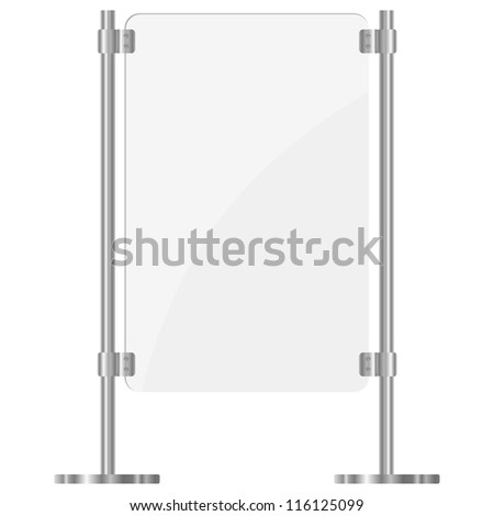 Illustration of a glass screen with metal racks. eps10