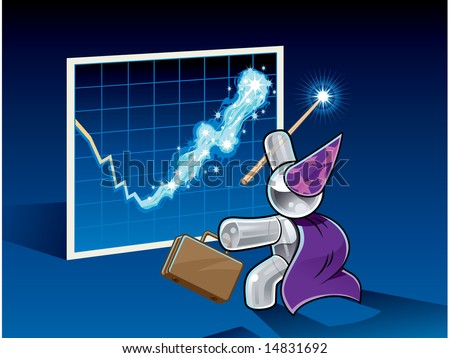 Illustration of a glassy businessman character dressed as a wizard who is using his magic wand to change his earnings from a loss to a gain