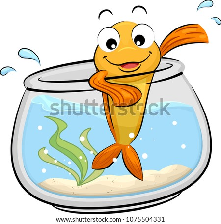 Illustration of a Gold Fish Mascot Waving From Its Fish Bowl