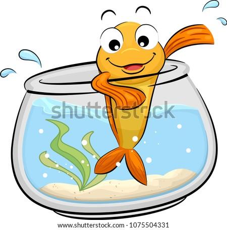 Illustration of a Gold Fish Mascot Waving From Its Fish Bowl