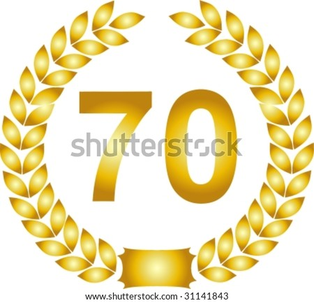 illustration of a golden laurel wreath 70 years