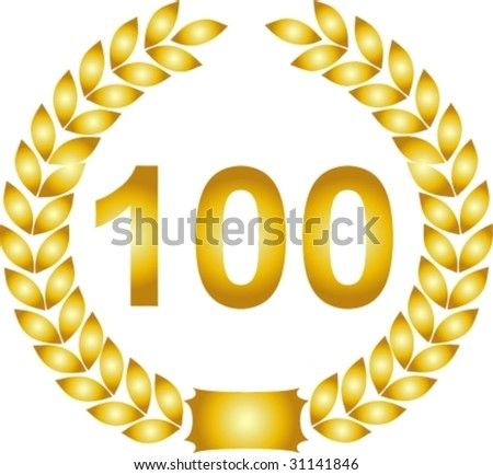 illustration of a golden laurel wreath 100 years