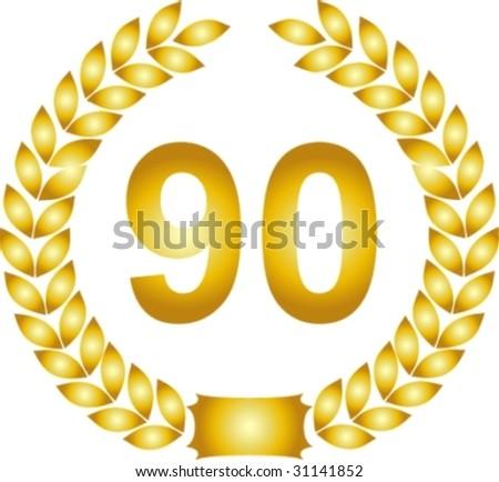 illustration of a golden laurel wreath 90 years
