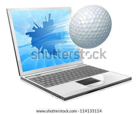 Illustration of a golf ball flying out of a broken laptop computer screen