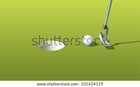 Illustration of a golf ball near the hole