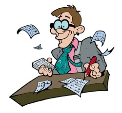 Illustration of a goofy looking accountant calculating figures at his desk