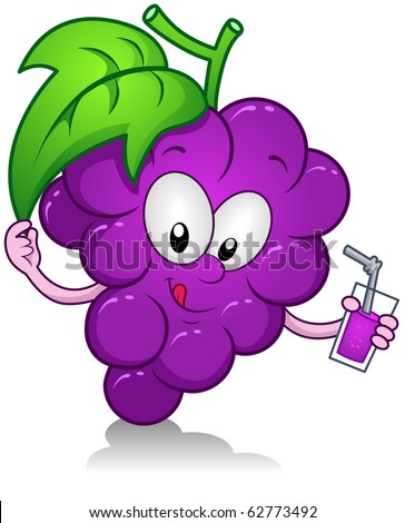 Illustration of a Grape Character Holding a Drink