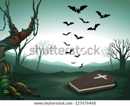 illustration of a graveyard in...