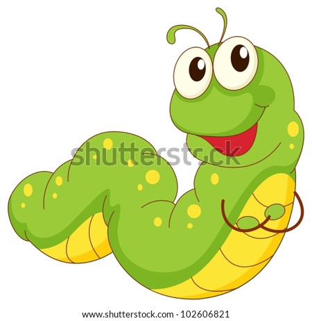 Illustration of a green caterpillar cartoon