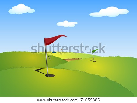 illustration of a green golf course with flags