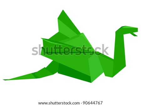 illustration of a green origami dragon figure, eps8 vector