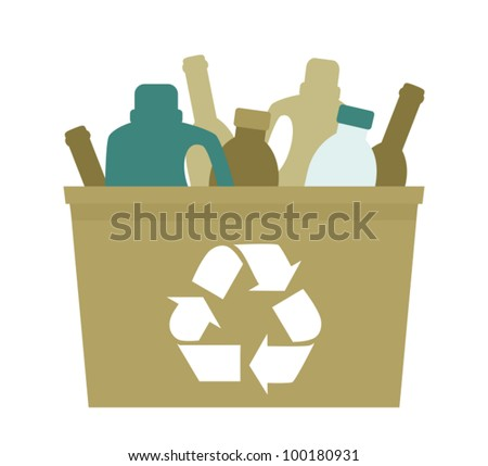 Illustration of a green plastic bin with empty bottles in it.
