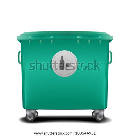 illustration of a green recycling bin with glass symbol