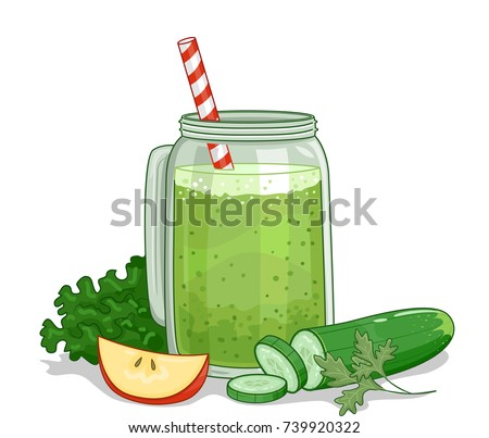 Illustration of a Green Smoothie in a Mason Jar with Cucumber, Apple and Lettuce
