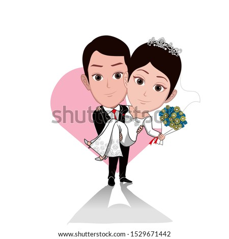 illustration of a groom wearing a tuxedo holding a bride carrying a bouquet of flowers. Vector cartoons that can be used for caricature or mascot templates with plain backgrounds.