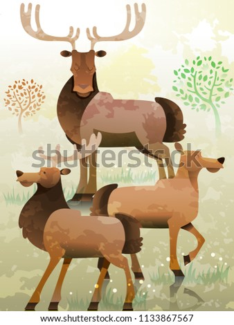 illustration of a group of elk
