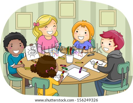 Illustration of a Group of Kids of Different Ages Making Drawings Together