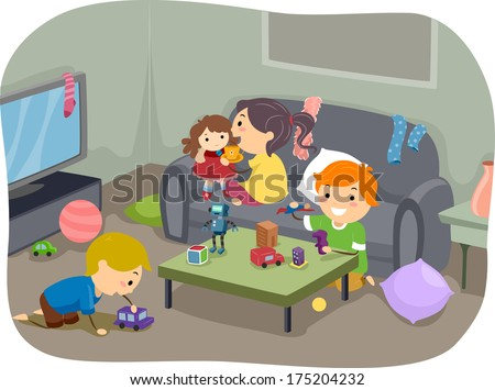 Illustration of a Group of Kids Playing with Their Toys at Home