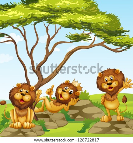 illustration of a group of lions